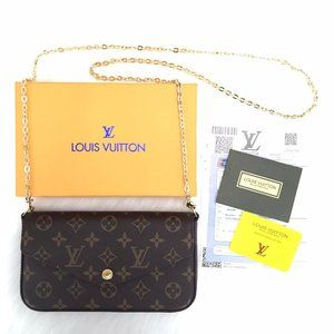 %100 Genuine Leather Louis Vuitton Felicie Clutch